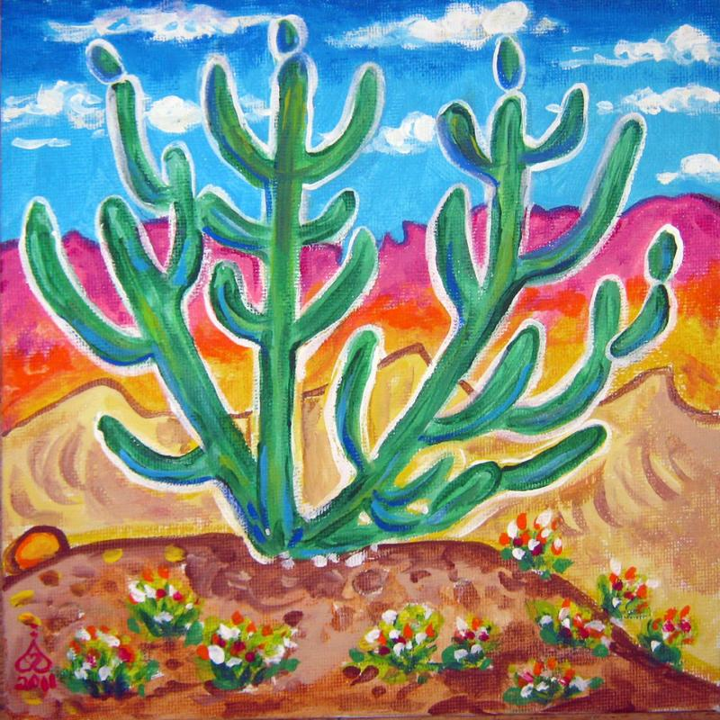 Rachel Houseman, Candle Cactus, ColorScapes, Desert Plants, Colorful Art