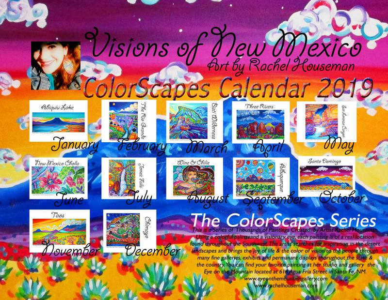 Rachel Houseman, ColorScapes Calendar, 2019 Art Calendar, Santa Fe Artist, Color