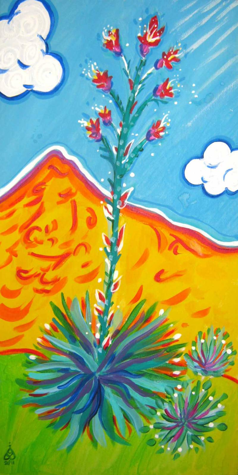 Rachel Houseman, Century Plant, ColorScapes, Desert Plants, Colorful Art