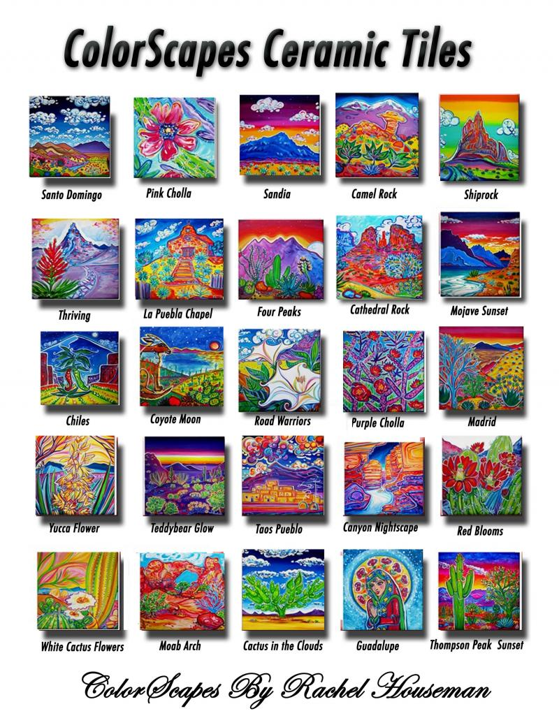 ColorScapes, Ceramic Tiles, Ceramic Coasters, Rachel Houseman, Colorful Coasters