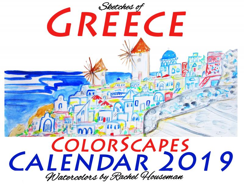 Rachel Houseman, Greece Calendar, 2019 Art Calendar, Santa Fe Artist, Greece