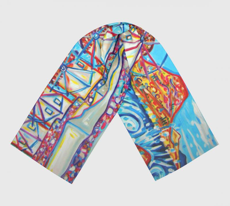 Rachel Houseman, ColorScapes Art Scarf, Wearable Art, Collectable Scarf, Mykonos