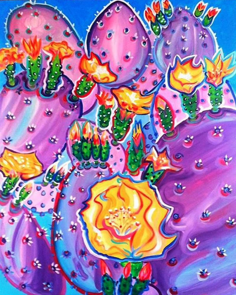 Rachel Houseman, Purple Cactus, ColorScapes, Desert Plants, Colorful Art