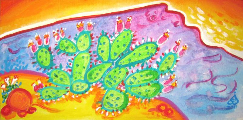 Rachel Houseman, Prickly Pear, ColorScapes, Desert Plants, Colorful Art