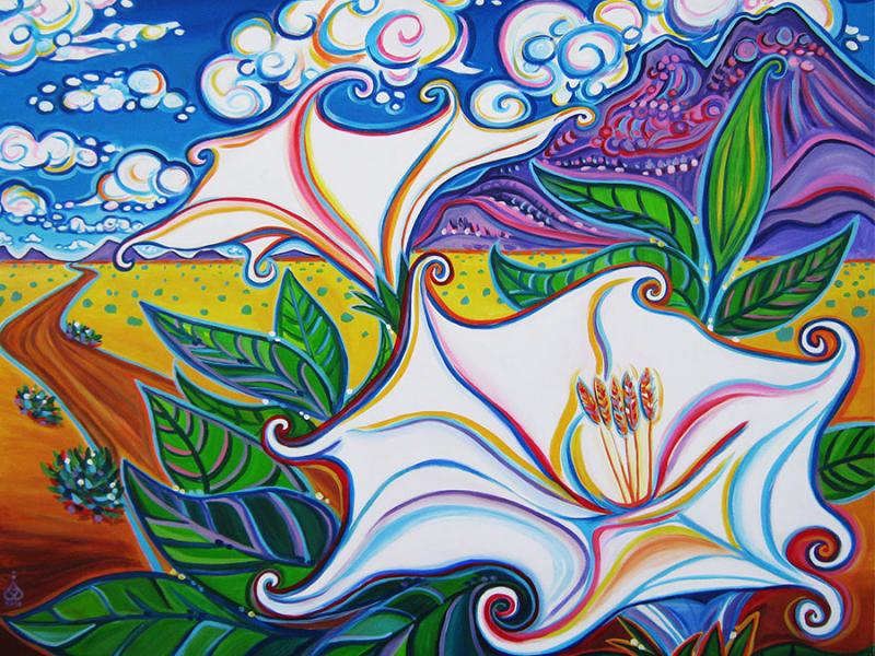 Rachel Houseman, Moon Flower, Datura, ColorScapes, Desert Plants, Colorful Art