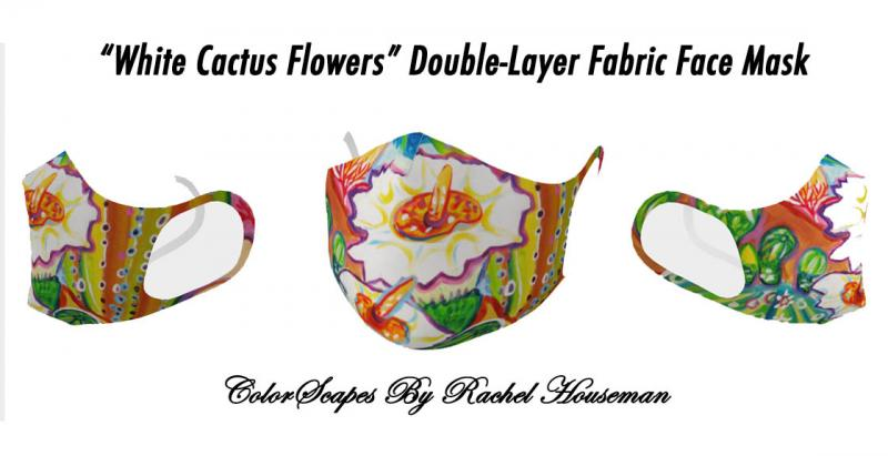 White Cactus Flowers, Double Layered Fabric Face Masks, Facemasks, Masks, Color